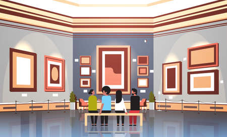 people tourists visitors in modern art gallery museum interior sitting on bench looking contemporary paintings artworks or exhibits horizontal vector illustration