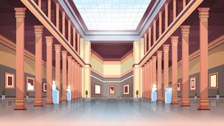 classic historic museum art gallery hall with columns and glass ceiling interior ancient exhibits and sculptures collection flat horizontal vector illustration