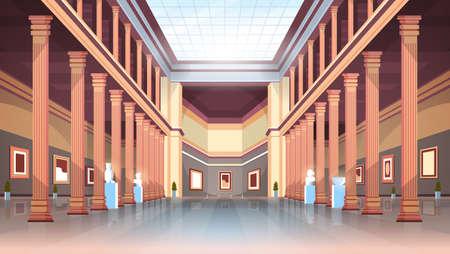 classico museo storico galleria d'arte sala con colonne e soffitto in vetro interni mostre antiche e collezione di sculture illustrazione vettoriale piatta orizzontale Vettoriali