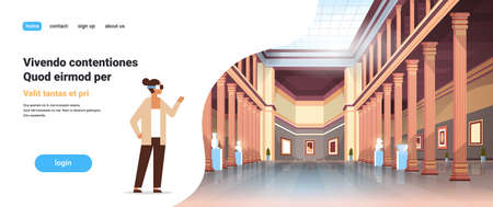 woman wear digital glasses virtual reality classic historic museum art gallery hall with columns interior ancient exhibits and sculptures collection flat horizontal copy space vector illustration