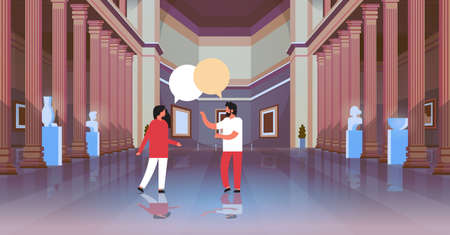 couple visitors in classic historic museum art gallery hall with columns interior chat bubble communicating looking ancient exhibits and sculptures collection flat horizontal vector illustration Vector Illustration