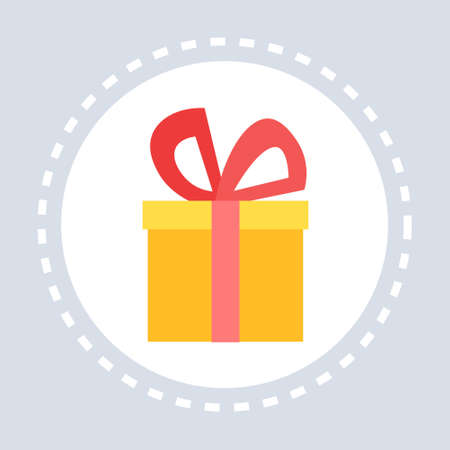 gift box present shopping icon concept flat vector illustration Illustration