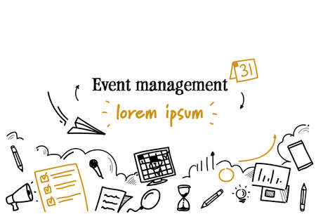 event management concept sketch doodle horizontal isolated copy space vector illustration