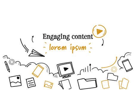 social media sharing engaging content concept sketch doodle horizontal isolated copy space vector illustration