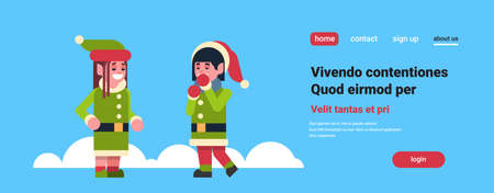 elves couple girl santa claus helper standing together communication concept merry christmas holiday new year flat horizontal copy space vector illustration