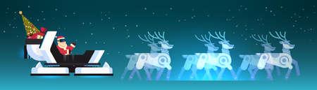 Santa wear digital glasses in robotic modern sleigh virtual reality reindeer merry christmas happy new year greeting card winter holidays concept horizontal flat vector illustration Illustration