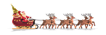 Santa in sleigh with reindeers merry christmas happy new year greeting card winter holidays concept isolated horizontal flat vector illustration Illustration