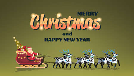 Santa in sleigh with robot reindeers artificial intelligence merry christmas happy new year greeting card winter holidays concept horizontal flat vector illustration