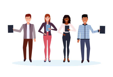 mix race business people holding folder standing together happy man woman office workers male female cartoon character full length isolated flat horizontal vector illustration