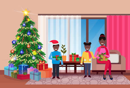 merry christmas happy new year family sitting living room pine tree home interior decoration winter holiday concept flat horizontal vector illustration Reklamní fotografie