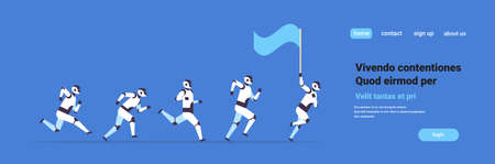 modern robots team running hold flag artificial intelligence technology concept flat horizontal banner copy space vector illustration