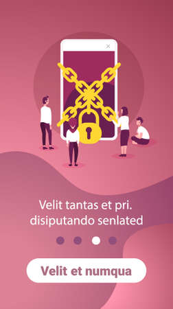 business people trying get access chain padlock smartphone data protection concept mobile application man woman working together flat copy space vertical vector illustration