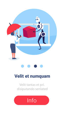 businesswoman receiving cardboard box from modern robot courier online shopping artificial intelligence concept e-commerce protection full length flat vertical copy space vector illustration Vettoriali