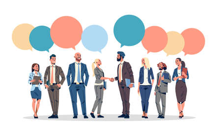 business people group chat bubble communication concept businessmen women speech relationship male female cartoon character full length horizontal isolated flat vector illustration