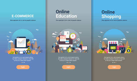web design template set for e-commerce online education and online shopping concepts different business collection flat copy space vector illustration 免版税图像