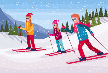 skiers group sliding down snowy mountain fir tree forest landscape background people skiing winter vacation flat horizontal vector illustration Banque d'images - 127456672