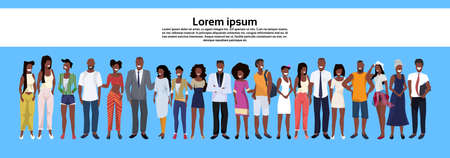 african american people group standing together set men women business casual employees workers male female cartoon character horizontal banner copy space full length flat vector illustration.