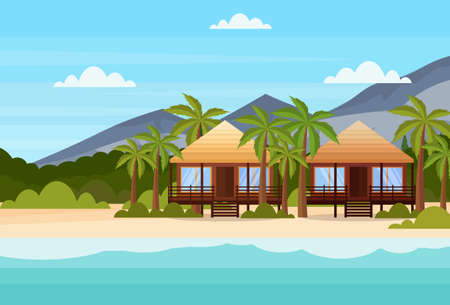 tropical island with villas bungalow hotel on beach seaside mountain green palms landscape summer vacation concept flat horizontal vector illustration