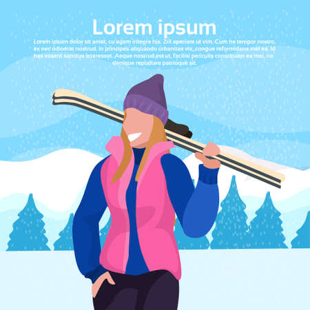 happy woman holding skis girl winter vacation activity concept fir tree snowy mountain landscape female cartoon character portrait flat copy space vector illustration Ilustracja