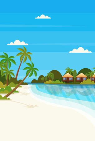 tropical island with villa bungalow hotel on beach seaside green palms landscape summer vacation concept flat vertical vector illustration