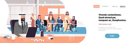 arab man boss using laptop workplace over arabic team brainstorming meeting group people sitting together office communication flat horizontal banner copy space vector illustration