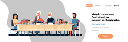 happy thanksgiving day multi generation family sitting table celebrating thanks day holiday traditional dinner concept autumn feast horizontal banner copy space flat vector illustration