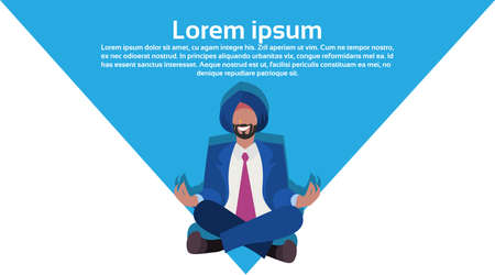 indian businessman sitting lotus yoga pose meditating national traditional clothes male cartoon character full length horizontal copy space flat vector illustration