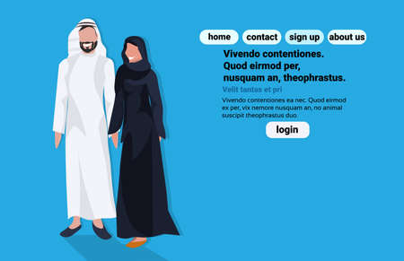Arabic business man woman wearing traditional clothes arab couple black white saree standing together cartoon character avatar blue background flat full length horizontal copy space vector illustration