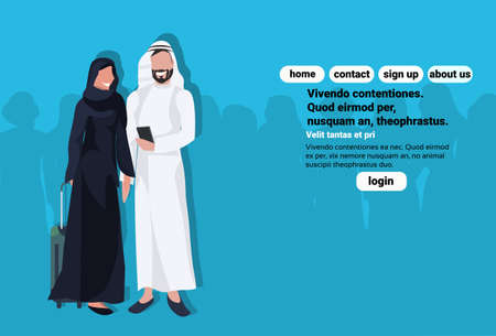 Arabic couple using smartphone holding valise wearing traditional clothes travel concept man woman cartoon character avatar blue background full length horizontal copy space flat vector illustration Иллюстрация