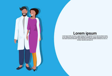 indian woman man couple bindi standing in national traditional clothes female male cartoon character full length flat horizontal copy space vector illustration