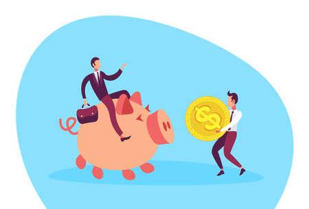 businessman sitting on piggy box carrying dollar coin growth wealth teamwork concept cartoon character full length flat horizontal vector illustration
