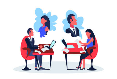 infatuated business couple sitting office workplace thinking about each other dream working process concept cartoon character isolated full length flat vector illustration