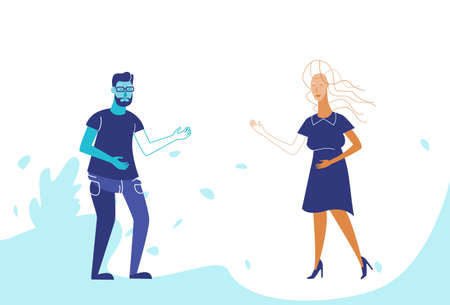 couple man woman standing together business people communication concept male female cartoon character full length horizontal vector illustration