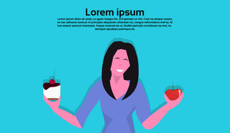 woman holding cake apple resist temptation making right dietary choice weight loss diet dilemma concept female cartoon character flat portrait horizontal copy space vector illustration