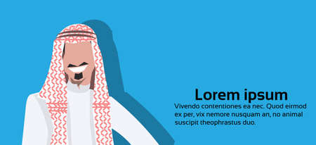 Arabic business man icon wearing traditional clothes arab businessman male cartoon character avatar blue background portrait horizontal copy space flat vector illustration