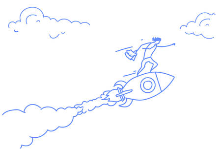 businessman flying launching rocket innovation startup project successful strategy concept horizontal sketch doodle vector illustration