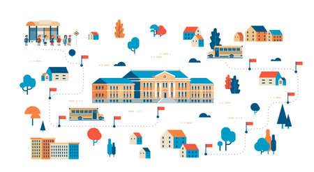 pupils going to school map isometric building yard bus station success study concept isolated horizontal copy space flat vector illustration Vettoriali