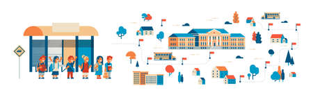 pupils going to school map isometric building yard bus station success study concept isolated horizontal banner flat vector illustration
