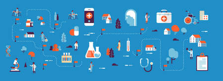 medical healthcare products medicine isometric map concept laboratory equipment doctors and nurses cartoon character horizontal banner blue background flat vector illustration