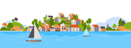 boats over beach seaside island houses hotels background sea yacht coast summer vacation concept flat horizontal banner vector illustration