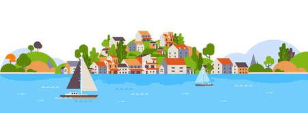 Boote über Strand am Meer Insel beherbergt Hotels Hintergrund Meer Yacht Küste Sommerurlaub Konzept flache horizontale Banner Vektor Illustration Vektorgrafik