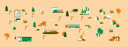 Logistics different delivery map drone cargo trucking maritime shipping transportation isometric distribution vehicles transportation concept flat horizontal banner vector illustration
