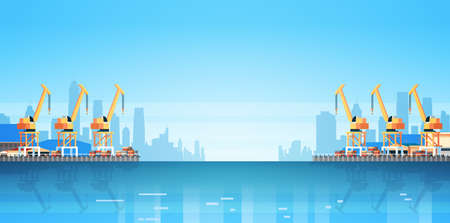 Industrial sea port cargo logistics container import export crane water delivery transportation concept shipping dock flat horizontal vector illustration Illusztráció