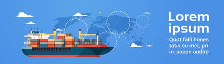 Industriële zee vracht logistiek container import export vrachtschip water levering transport concept internationale scheepvaart wereldkaart achtergrond vlakke horizontale banner kopie ruimte vectorillustratie