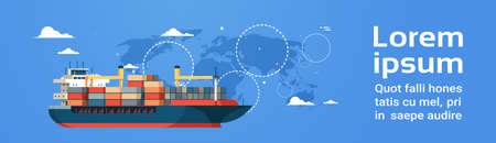 Industrial sea cargo logistics container import export freight ship water delivery transportation concept international shipping world map background flat horizontal banner copy space vector illustration