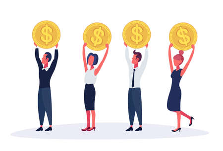 Business people holding dollar coin money growth concept horizontal isolated male female cartoon character full length flat vector illustration