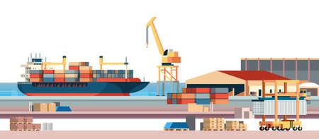 Contenedor de logística de carga de puerto marítimo industrial importación exportación carga barco grúa entrega de agua concepto de transporte embarque muelle plano horizontal banner vector ilustración