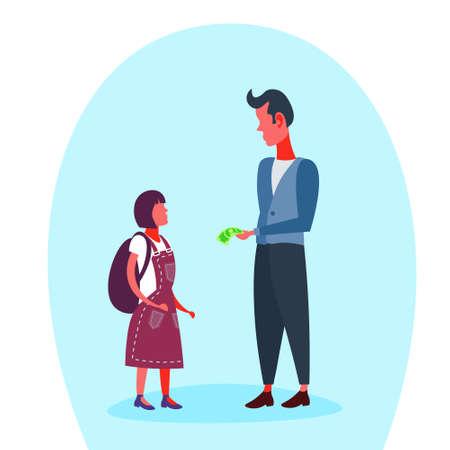 Businessman giving money dollar banknote his school girl pocket expenses budget concept full length cartoon character flat vector illustration