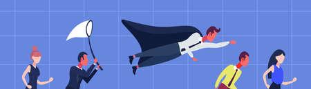 businessperson diversity poses hurry up business startup concept cartoon character man woman blue background portrait horizontal banner flat vector illustration Stock Illustratie