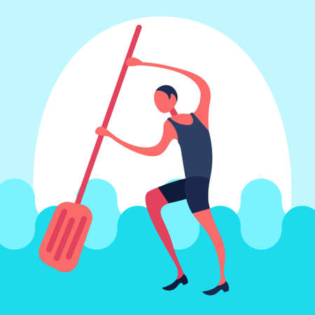 undressed businessman paddling water business man rescued problem solution concept male cartoon character flat full length vector illustration